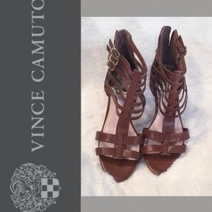 VINCE CAMUTO Brown V2 Strappy Heels GUC Size 10